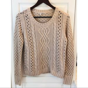 Halogen Cable Knit Open Weave Crew Sweater Tan L